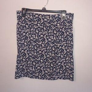 Navy Floral Pencil Skirt
